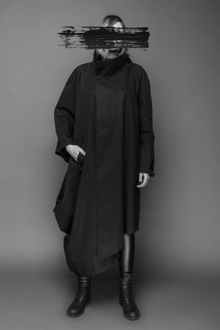 Shop Emerging Conscious Dark Fashion Brand MAKS AW19 Black Asymmetric Sleeve Coat at Erebus