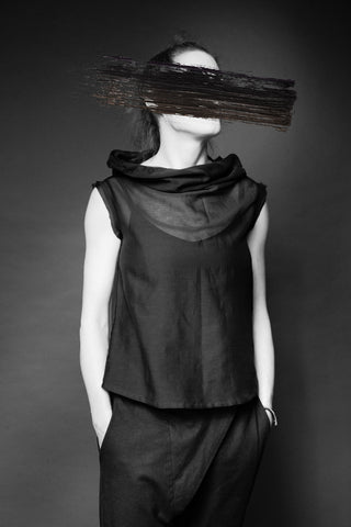 Shop Conscious Dark Fashion Brand MAKS Design SS20 Black Sheer Sleeveless Roll Top at Erebus
