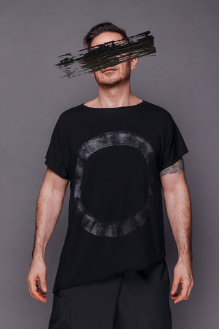 Shop Emerging Conscious Dark Fashion Brand MAKS Men's Black Asymmetric Hand-painted T-shirt at Erebus