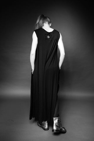 Shop Conscious Dark Fashion Brand MAKS Design SS20 Black Open Sides Maxi Dress at Erebus