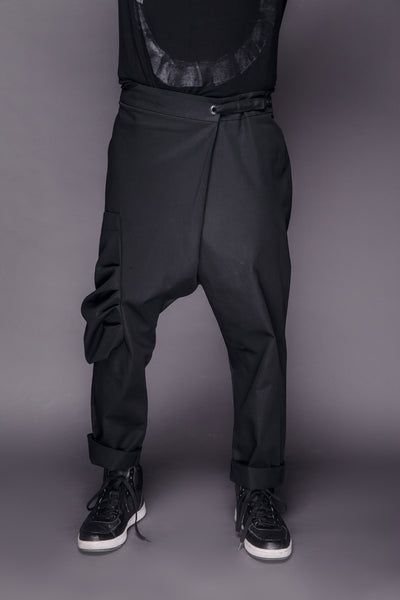 Shop Emerging Conscious Dark Fashion Brand MAKS Men's Black Fisherman Pants at Erebus
