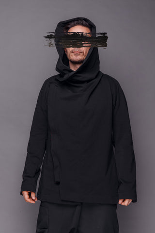 Shop Emerging Conscious Dark Fashion Brand MAKS Men's Black Hooded Jacket at Erebus