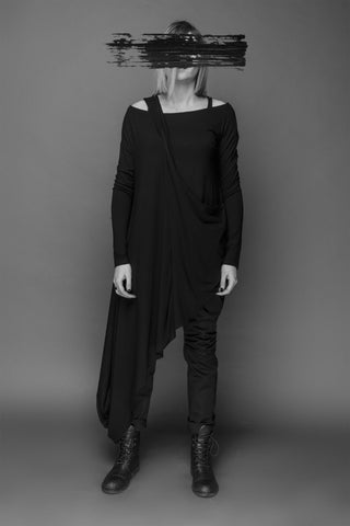 Shop Emerging Conscious Dark Fashion Brand MAKS AW19 Black Tunic at Erebus