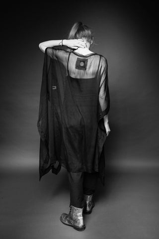Shop Conscious Dark Fashion Brand MAKS Design SS20 Sheer Black Hand-painted Greek Tunic at Erebus