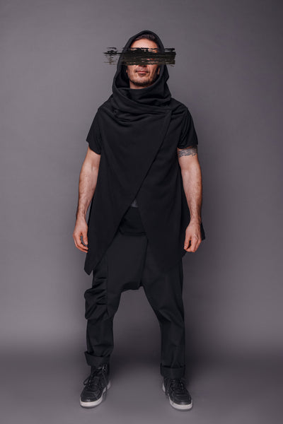 Shop Emerging Conscious Dark Fashion Brand MAKS Men's Black Hooded Sleeveless Vest at Erebus