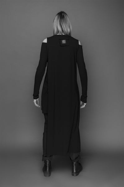 Shop Emerging Conscious Dark Fashion Brand MAKS AW19 Black Double Layer Tunic Dress at Erebus