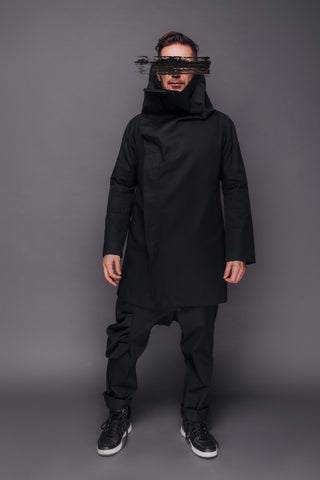 Shop Emerging Conscious Dark Fashion Brand MAKS Men's Black High Collar Coat at Erebus