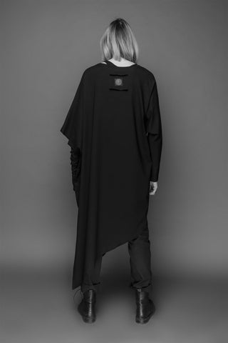Shop Emerging Conscious Dark Fashion Brand MAKS AW19 Black Asymmetric Tunic at Erebus