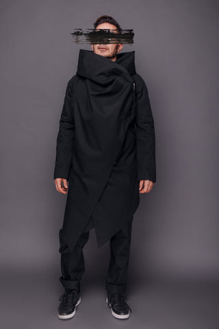 Shop Emerging Conscious Dark Fashion Brand MAKS Men's Black Big Hood Coat at Erebus