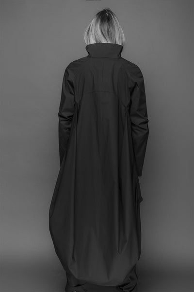 Shop Emerging Conscious Dark Fashion Brand MAKS AW19 Black Long Back Shirt at Erebus