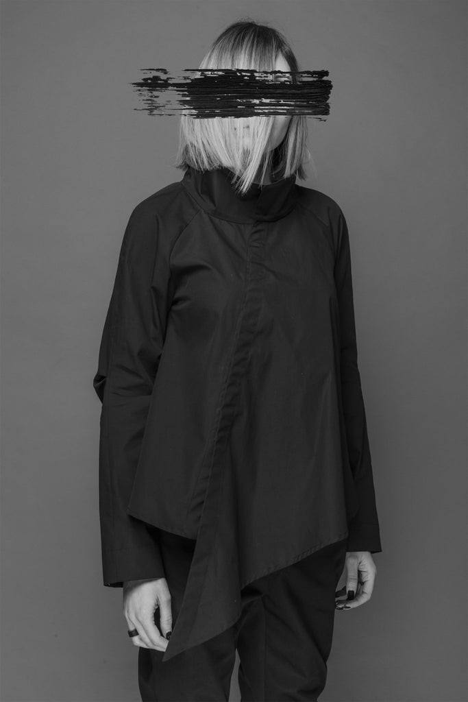 Shop Emerging Conscious Dark Fashion Brand MAKS AW19 Black Asymmetric Shirt at Erebus