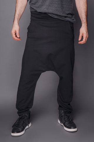 Shop Emerging Conscious Dark Fashion Brand MAKS Men's Black Baggy Pants at Erebus