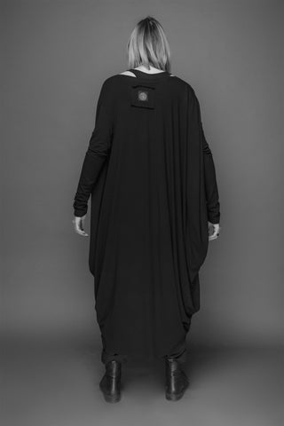Shop Emerging Conscious Dark Fashion Brand MAKS AW19 Black Twisted Circle Tunic Dress at Erebus