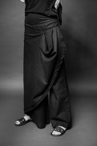 Shop Conscious Dark Fashion Brand MAKS Design SS20 Black Linen Pareo Skirted Trousers at Erebus