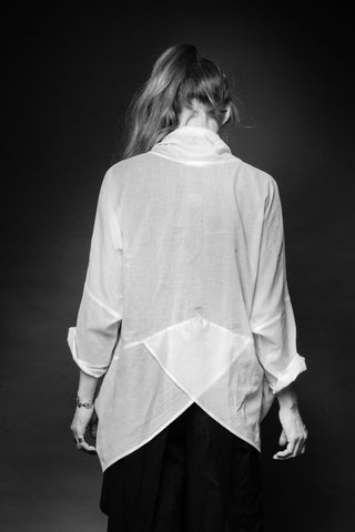 Shop Conscious Dark Fashion Brand MAKS Design SS20 White Aladin Shirt at Erebus