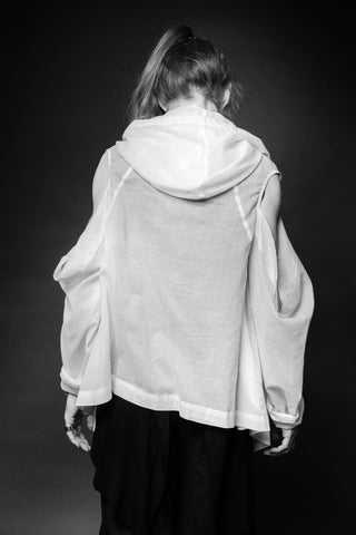 Shop Conscious Dark Fashion Brand MAKS Design SS20 White Hooded Witch Blouse at Erebus