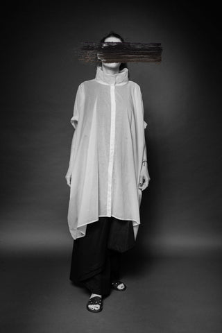 Shop Conscious Dark Fashion Brand MAKS Design SS20 White Cube Long Shirt at Erebus