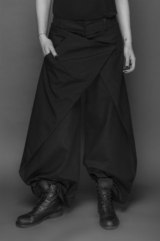 Shop Emerging Conscious Dark Fashion Brand MAKS AW19 Black Overlapping Pants at Erebus