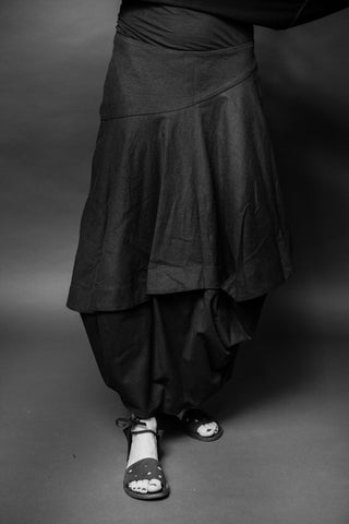 Shop Conscious Dark Fashion Brand MAKS Design SS20 Black Linen Bell Lstika Skirt at Erebus