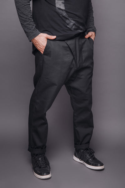 Shop Emerging Conscious Dark Fashion Brand MAKS Men's Black Asymmetric Baggy Pants at Erebus