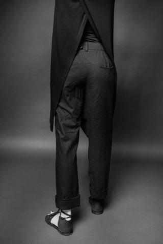 Shop Conscious Dark Fashion Brand MAKS Design SS20 Black Linen Asymmetric Double Waistband Trousers at Erebus
