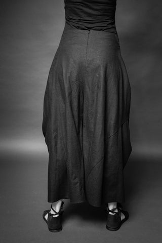 Shop Conscious Dark Fashion Brand MAKS Design SS20 Black Linen Auspuh Trousers at Erebus