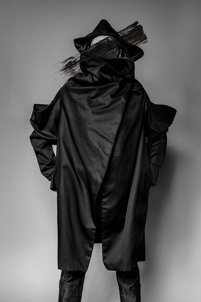Shop Emerging Avant-garde Slow Fashion Womenswear Brand MAKS Double Sleeve Coat at Erebus