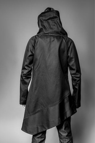 Shop Emerging Avant-garde Slow Fashion Womenswear Brand MAKS Asymmetric Tall Collar Jacket at Erebus