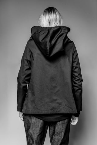 Shop Emerging Avant-garde Slow Fashion Womenswear Brand MAKS Asymmetric Hooded Jacket at Erebus