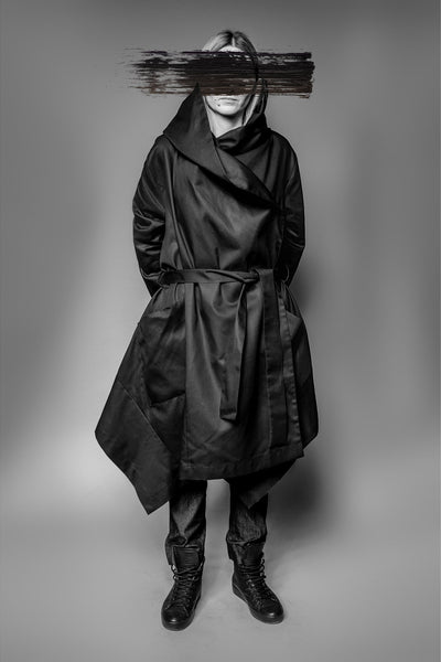 Shop Emerging Avant-garde Slow Fashion Womenswear Brand MAKS Long Cube Coat at Erebus
