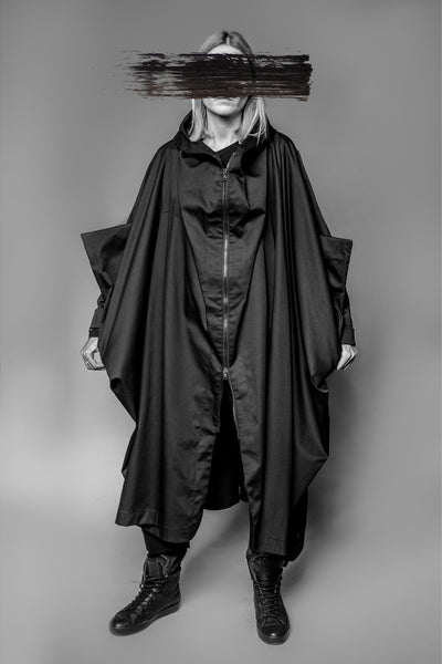 Shop Emerging Avant-garde Slow Fashion Womenswear Brand MAKS Long Batwing Coat at Erebus