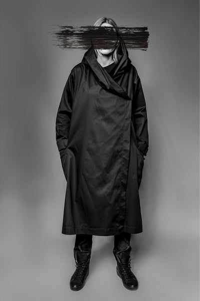 Shop Emerging Avant-garde Slow Fashion Womenswear Brand MAKS Long Hooded Coat at Erebus