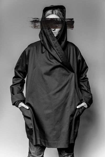 Shop Emerging Avant-garde Slow Fashion Womenswear Brand MAKS Wrap Front Jacket at Erebus
