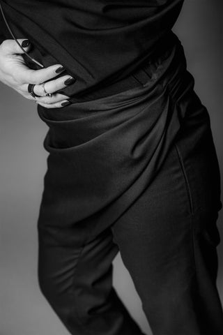 Shop Emerging Conscious Dark Fashion Brand MAKS AW19 Black Drape Front Pants at Erebus