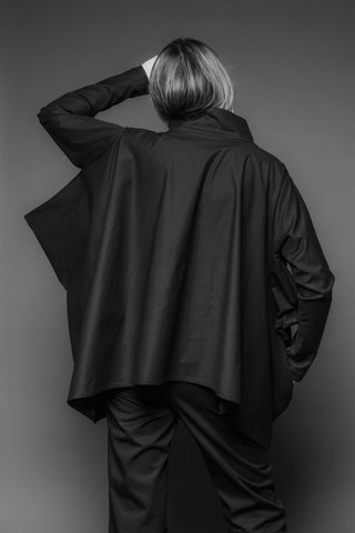 Shop Emerging Conscious Dark Fashion Brand MAKS AW19 Black Cube Shirt Tunic at Erebus