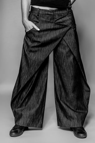 Shop Emerging Avant-garde Slow Fashion Womenswear Brand MAKS Oversized Wrap Trousers at Erebus