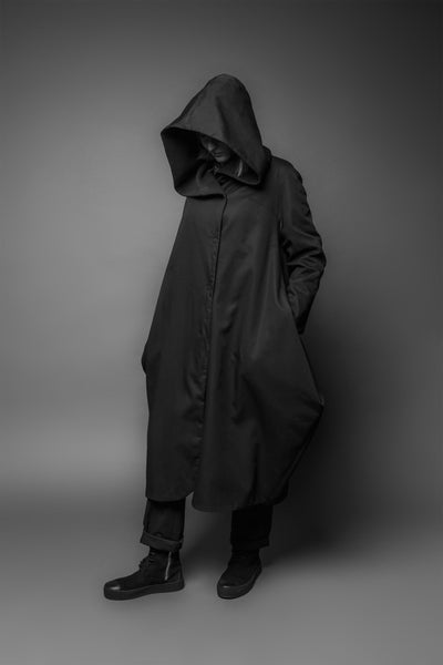 Shop Emerging Conscious Dark Fashion Brand MAKS AW19 Black Hooded Overlapping Coat at Erebus