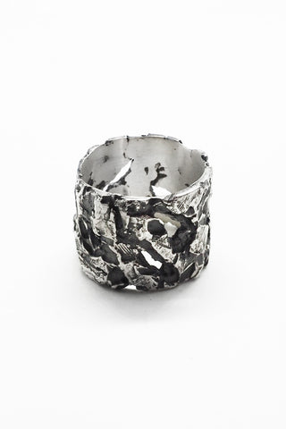 Shop Emerging Slow Fashion Avant-garde Jewellery Brand OSS Haus Broken Dreams Collection Oxidised Silver Acid Band Ring at Erebus