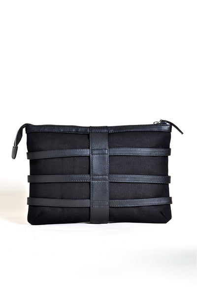 Shop emerging dark conscious fashion accessory brand Anoir by Amal Kiran Jana Black Leather and Organic Cotton Canvas Skeleton Clutch Bag at Erebus