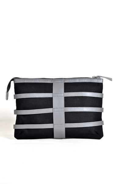 Shop emerging dark conscious fashion accessory brand Anoir by Amal Kiran Jana Grey Leather and Black Organic Cotton Canvas Skeleton Clutch Bag at Erebus