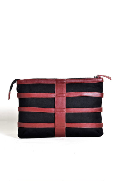 Shop emerging dark conscious fashion accessory brand Anoir by Amal Kiran Jana Red Leather and Black Organic Cotton Canvas Skeleton Clutch Bag at Erebus