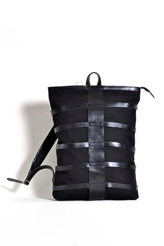 Shop emerging dark conscious fashion accessory brand Anoir by Amal Kiran Jana Black Leather and Organic Cotton Canvas Skeleton Backpack at Erebus