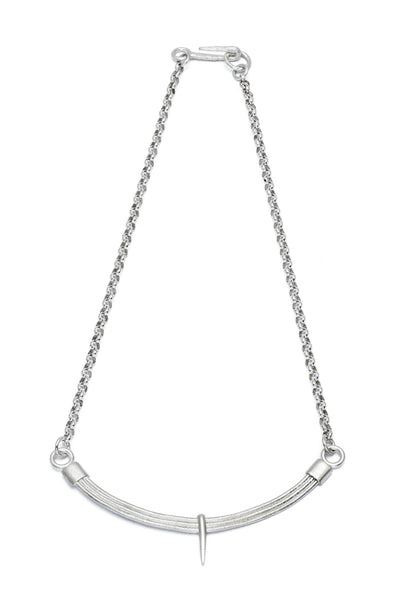 Shop Slow Fashion Artisanal Dark Jewellery Designer Maya Noach Sterling Silver Arc Necklace at Erebus