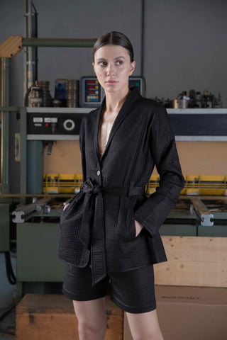 Shop Emerging Slow Fashion Conscious Conceptual Brand Cora Bellotto Black Awakened Blazer Jacket at Erebus