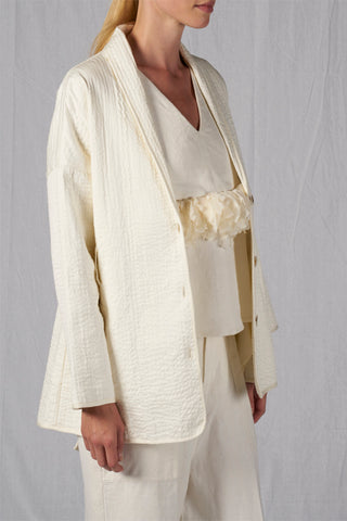 Shop Emerging Slow Fashion Conscious Conceptual Brand Cora Bellotto Ivory Awakened Blazer Jacket at Erebus