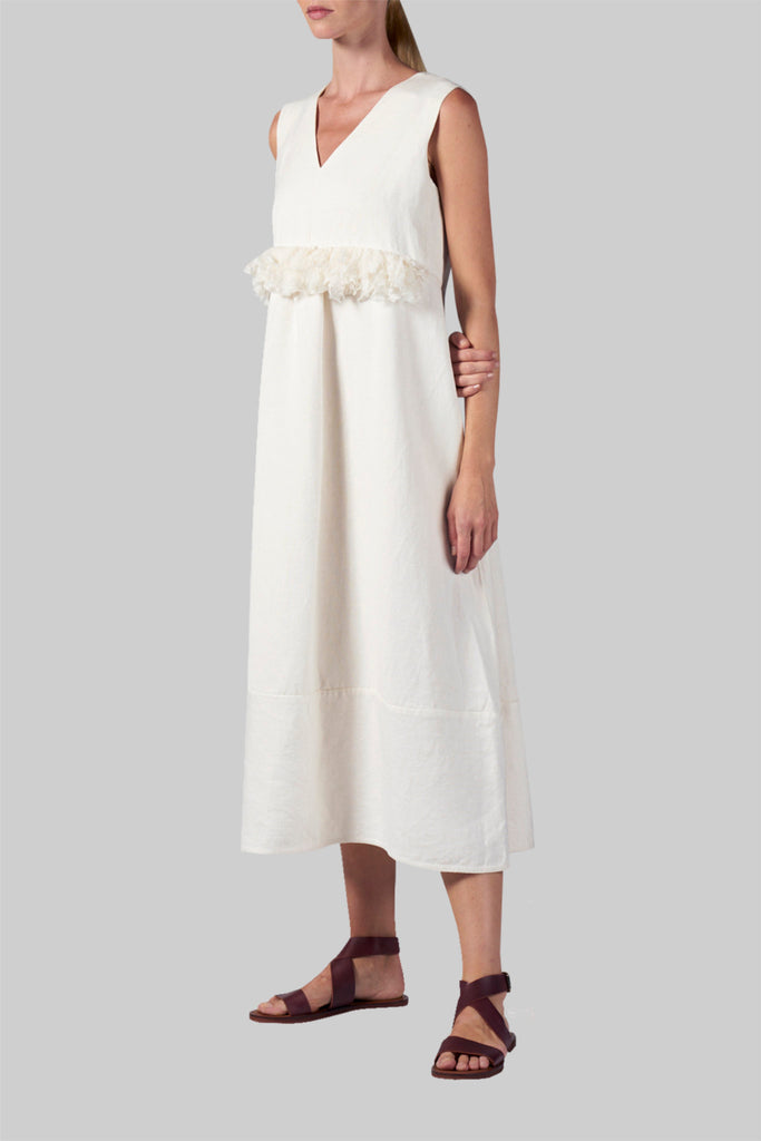 Shop Emerging Slow Fashion Conscious Conceptual Brand Cora Bellotto White Linen Barn Owl Dress at Erebus