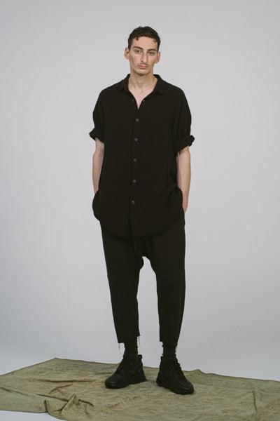 Shop Conscious Contemporary Brand Zsigmond Dora Menswear Roots SS21 Collection Black Organic Cotton Bese Shirt at Erebus
