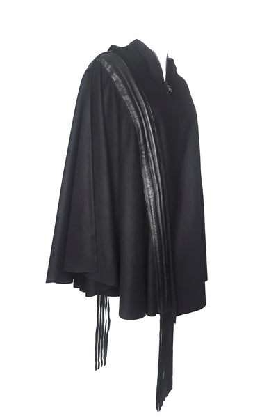 Shop Emerging Conscious Avant-garde Gender-free Brand Supramorphous Black Lambswool and Up-Cycled Leather Poncho at Erebus
