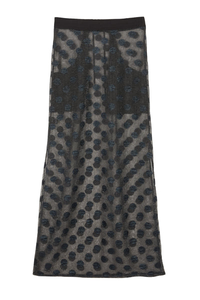 Shop Emerging Slow Fashion Avant-garde Unisex Brand Dhenze Kollektion 5 Sheer Polka Dot Lurex Jersey Slash Skirt at Erebus
