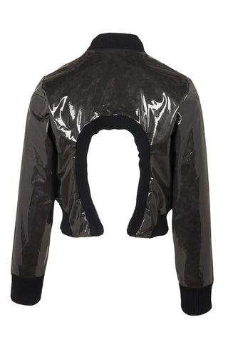 Shop Emerging Slow Fashion Avant-garde Genderless Brand Dhenze Black Rhombus Back Cutout Bomber Jacket at Erebus
